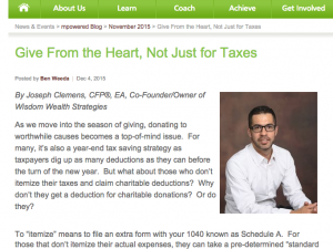 Give From the Heart, Not Just for Taxes